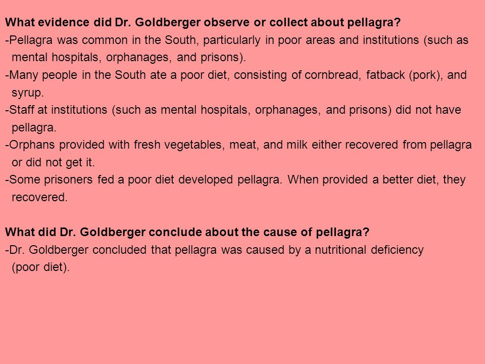 What evidence did Dr. Goldberger observe or collect about pellagra