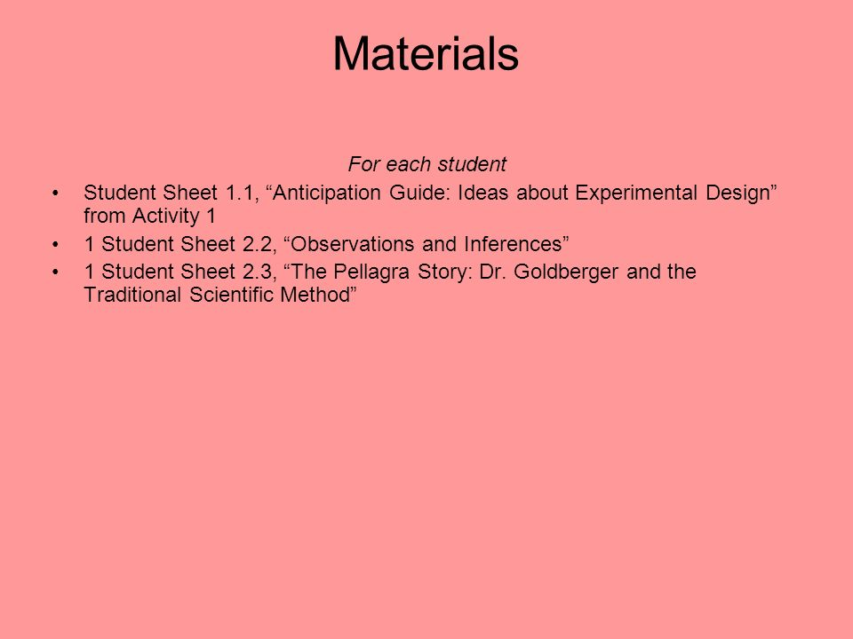 Materials For each student