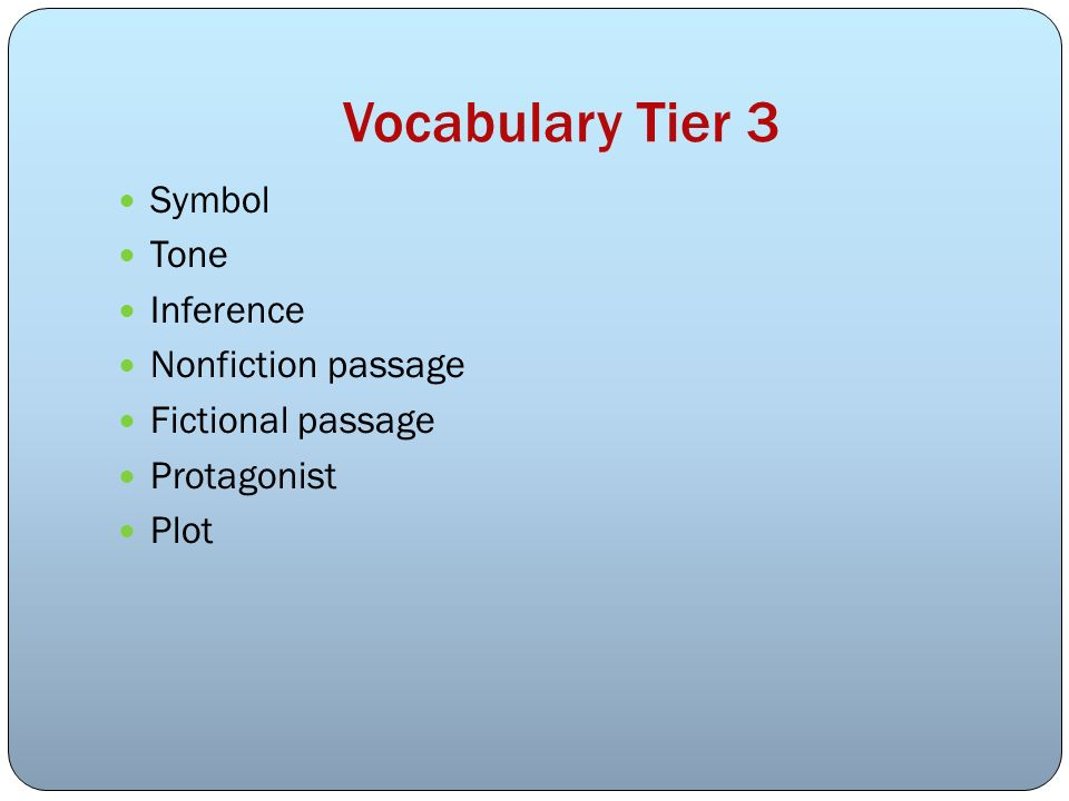 Vocabulary Tier 3 Symbol Tone Inference Nonfiction passage