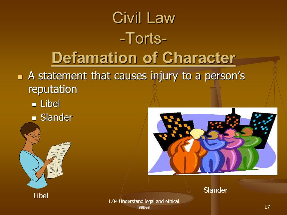 Civil Law -Torts- Defamation of Character