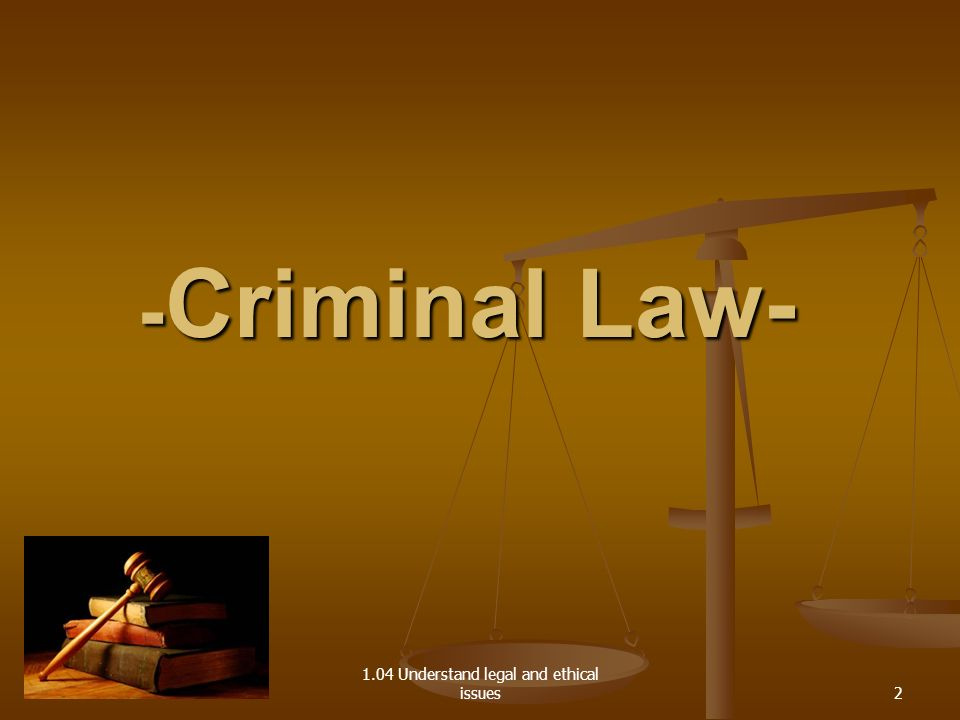 1.04 Understand legal and ethical issues