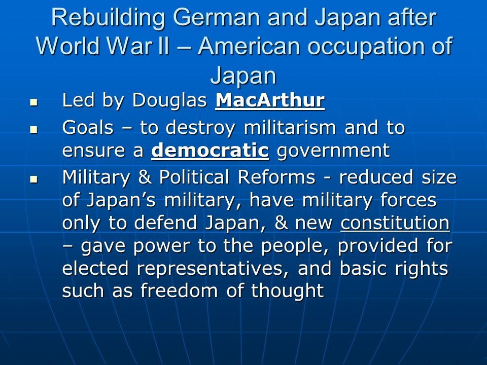 Rebuilding German and Japan after World War II – American occupation of Japan