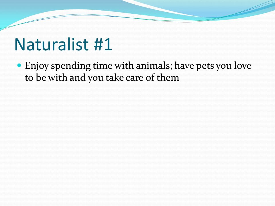 Naturalist #1 Enjoy spending time with animals; have pets you love to be with and you take care of them.