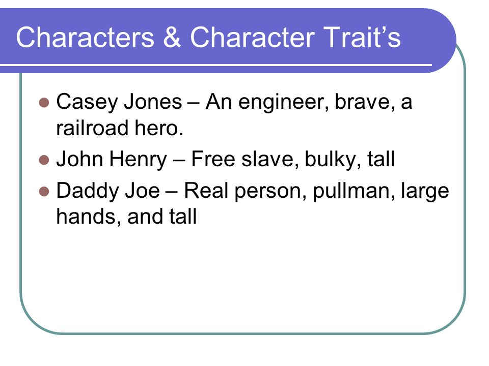 Characters & Character Trait's