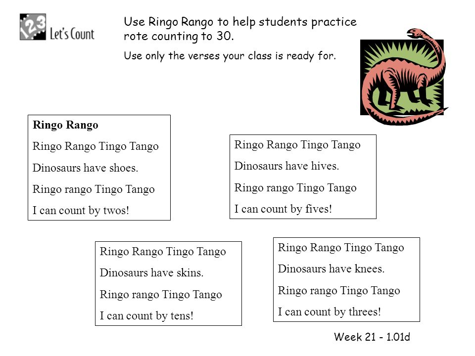 1 2 Use Ringo Rango to help students practice rote counting to 30.