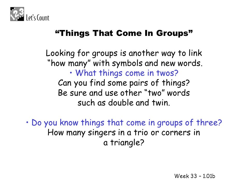 Things That Come In Groups