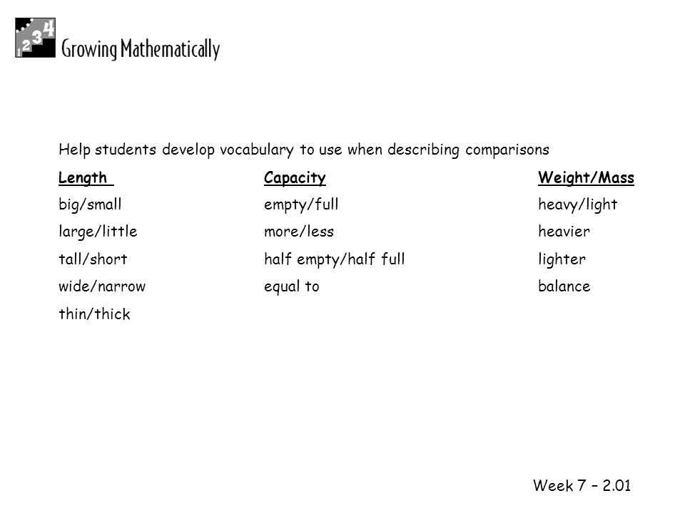 Help students develop vocabulary to use when describing comparisons