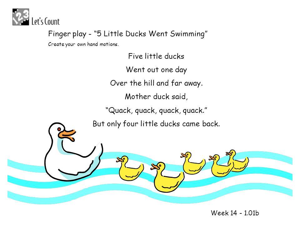 1 2 Finger play - 5 Little Ducks Went Swimming Five little ducks
