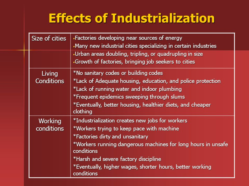 effects of industrialization Try reposting this and making the question clearer do you mean what were the effects of industrialization upon global warming if so, the question is even easier to answer than learning proper grammar.