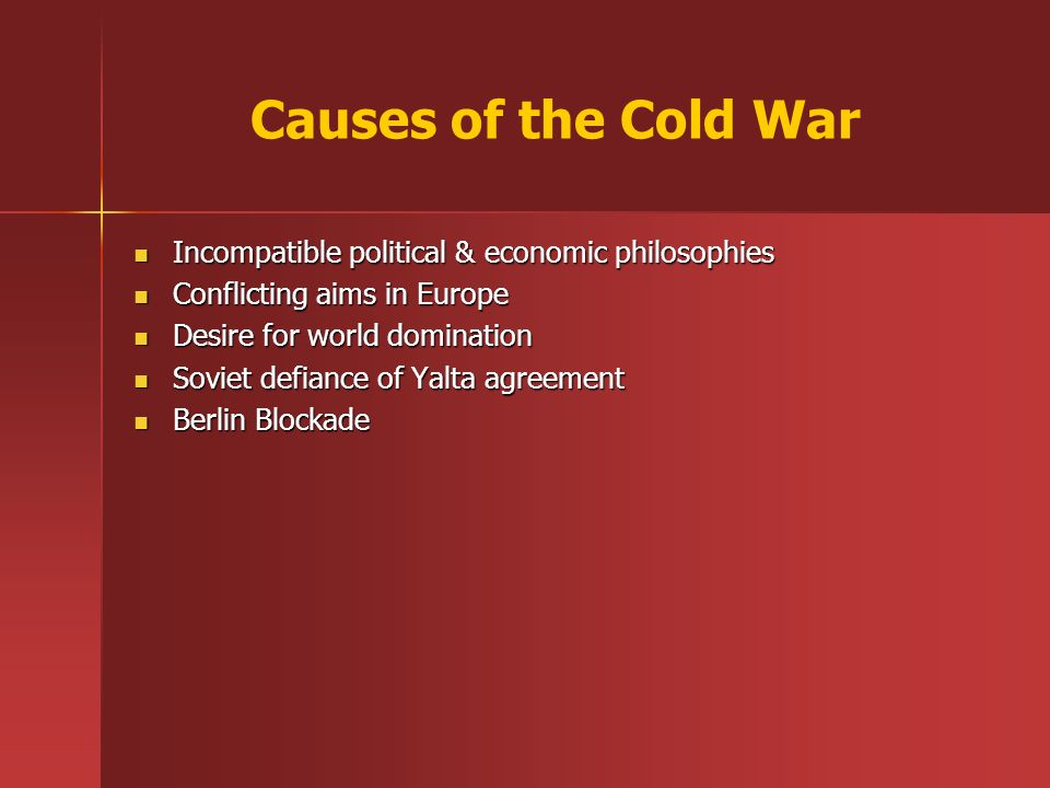 economics of the cold war The cold war was and is hugely expensive the full economic cost of any policy must be considered before lending moral and financial support to it, argues chris westley.