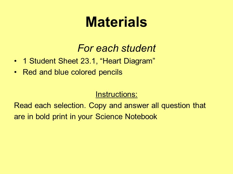 Materials For each student 1 Student Sheet 23.1, Heart Diagram