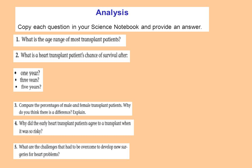 Analysis Copy each question in your Science Notebook and provide an answer.
