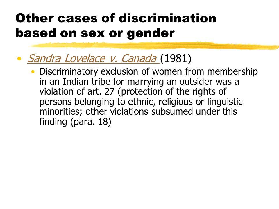 Cases of sex discrimination