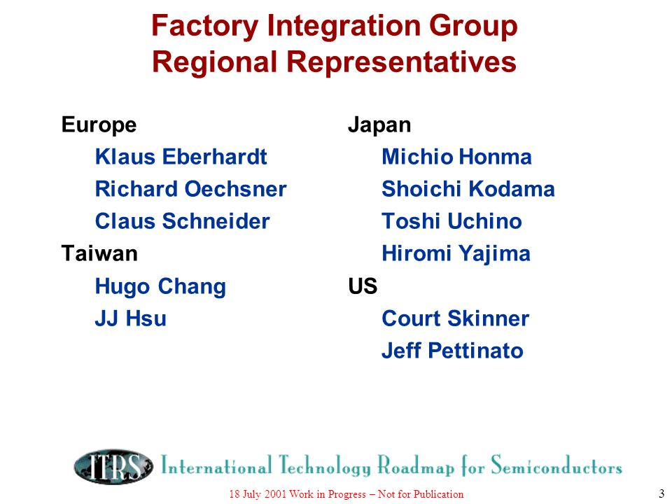 Factory Integration Group Regional Representatives