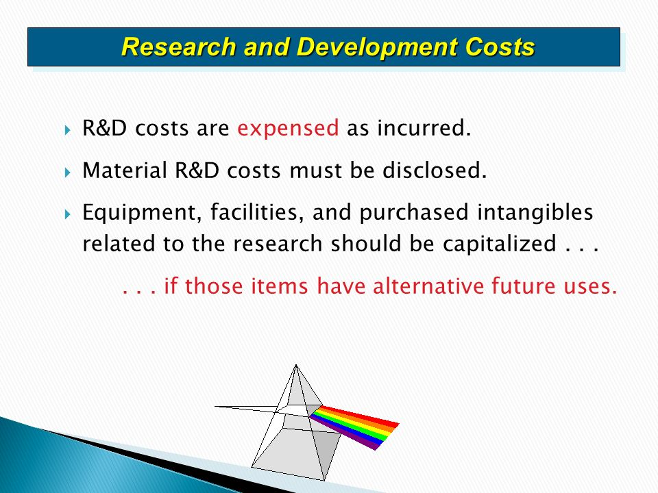 research and development costs A research and development project acquired in a business combination is recognised as an asset at cost, even if a component is research subsequent expenditure on that project is accounted for as any other research and development cost (expensed except to the extent that the expenditure satisfies the criteria in ias 38 for recognising such.