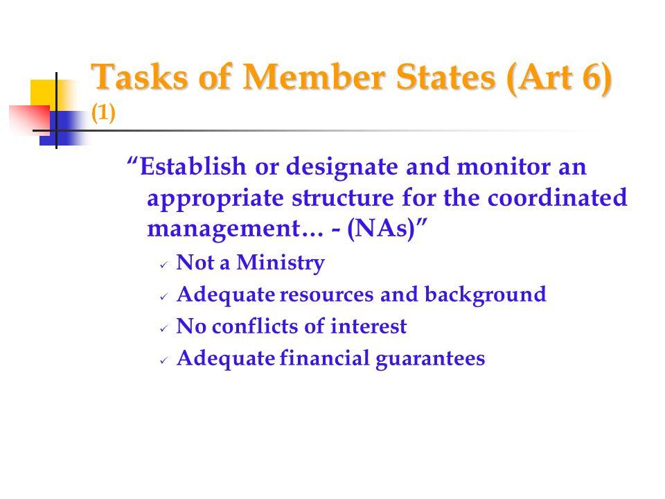 Tasks of Member States (Art 6) (1)