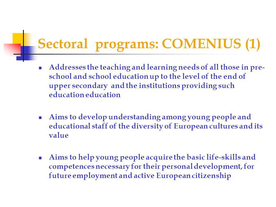 Sectoral programs: COMENIUS (1)