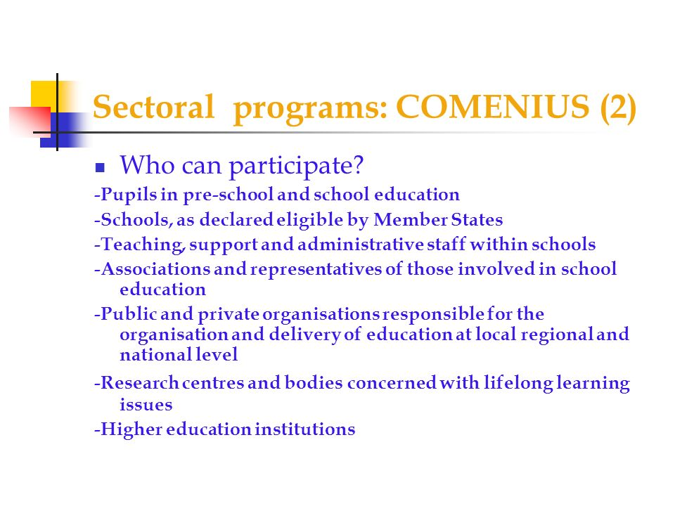 Sectoral programs: COMENIUS (2)