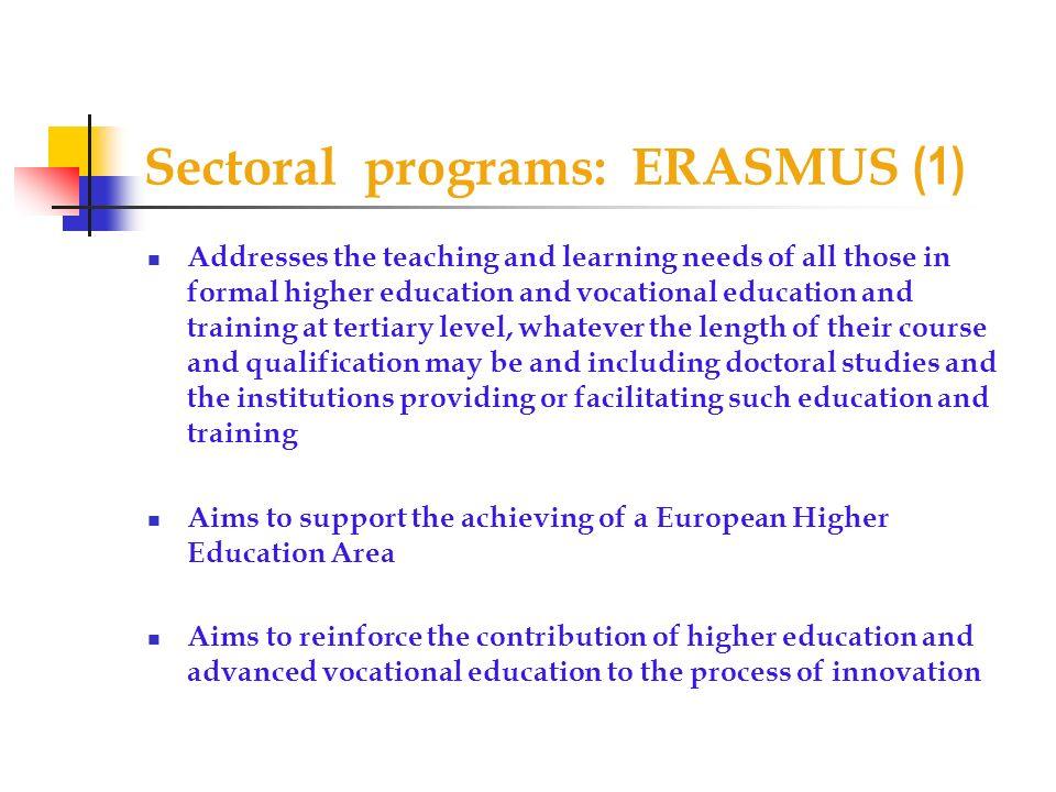 Sectoral programs: ERASMUS (1)