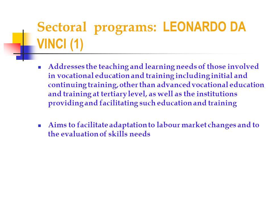 Sectoral programs: LEONARDO DA VINCI (1)