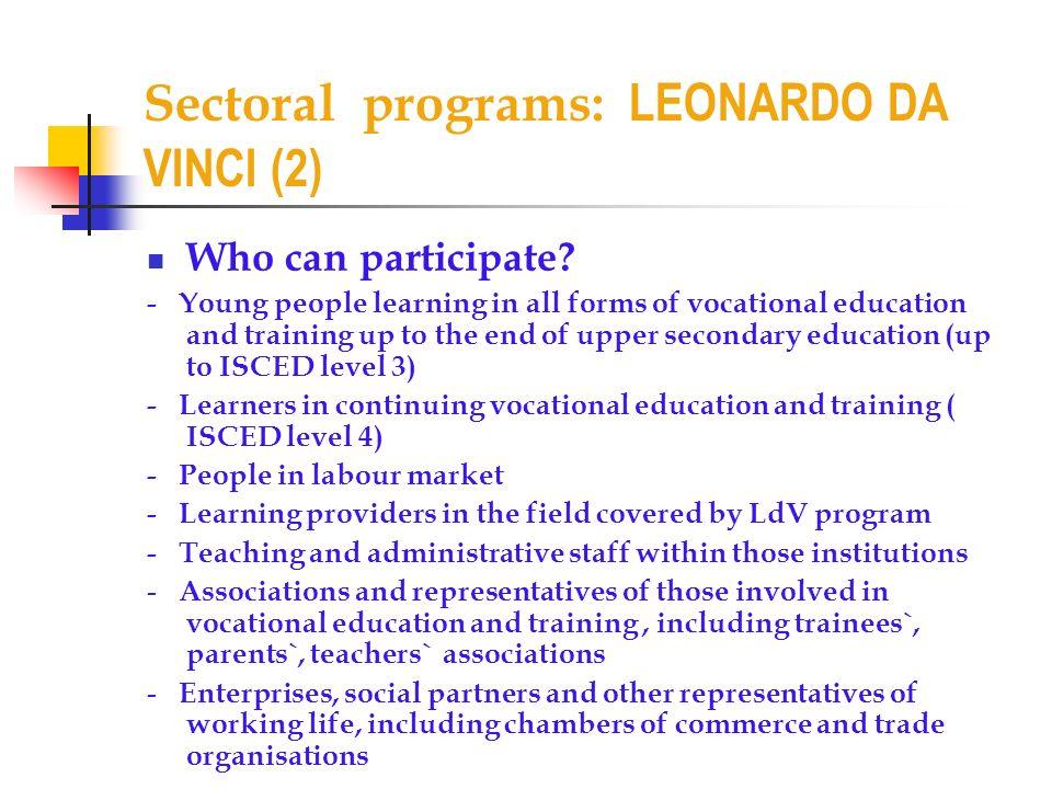 Sectoral programs: LEONARDO DA VINCI (2)
