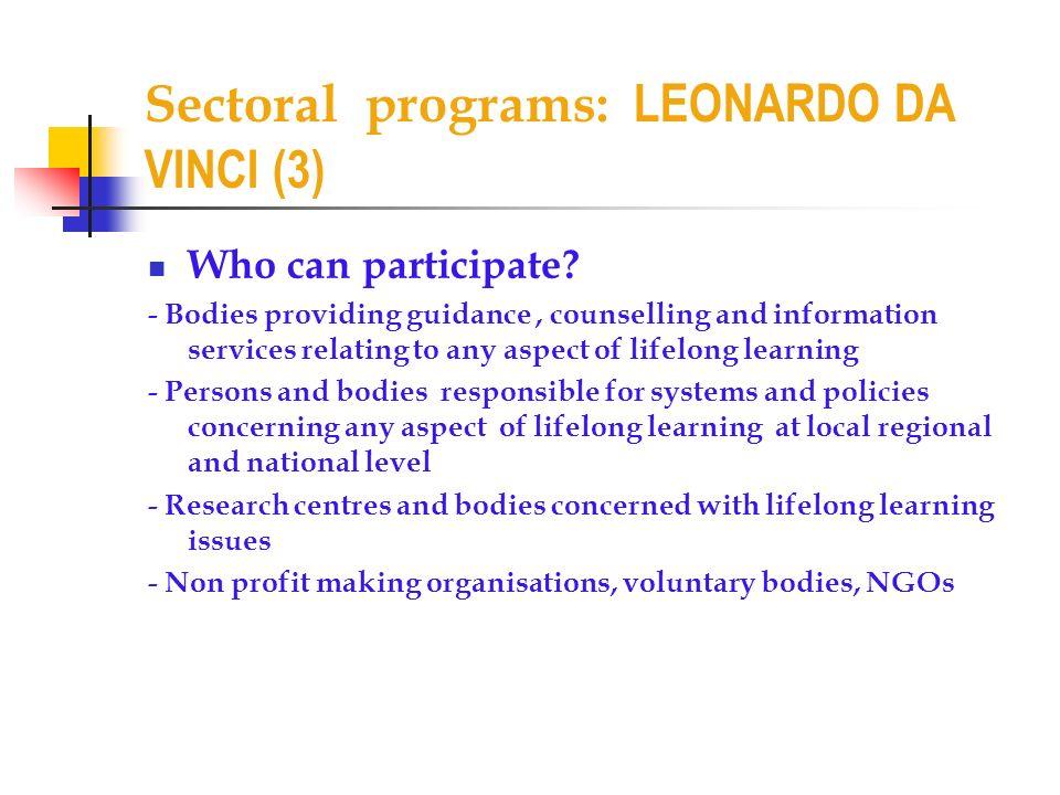 Sectoral programs: LEONARDO DA VINCI (3)
