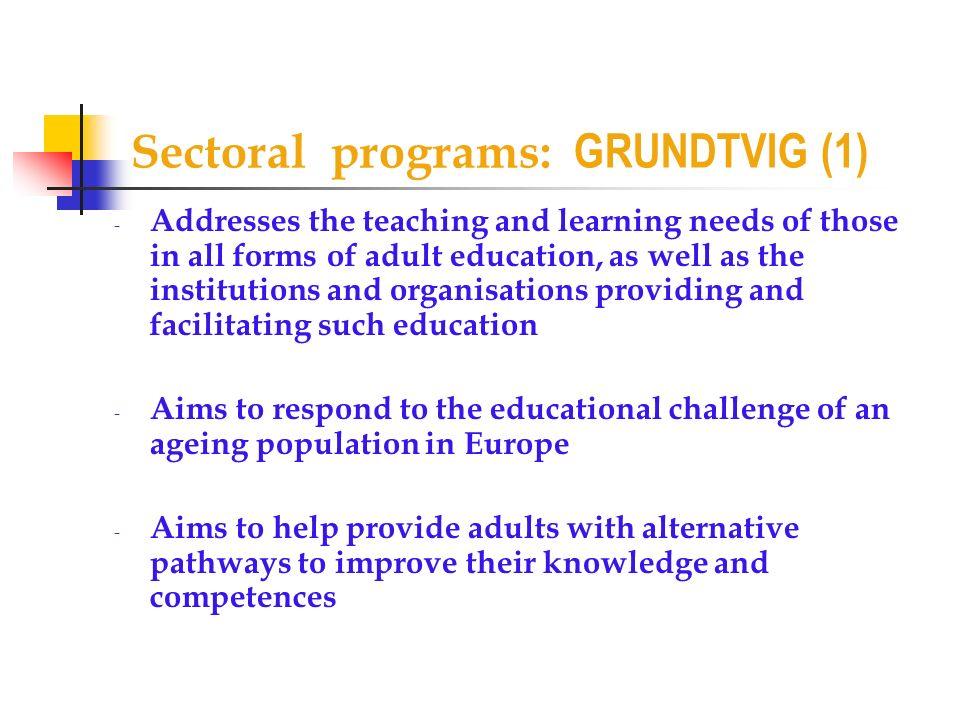 Sectoral programs: GRUNDTVIG (1)