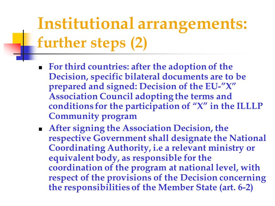 Institutional arrangements: further steps (2)
