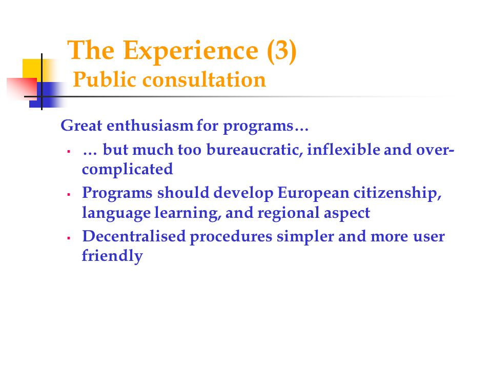 The Experience (3) Public consultation