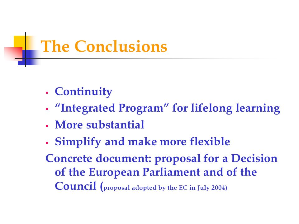 The Conclusions Continuity Integrated Program for lifelong learning
