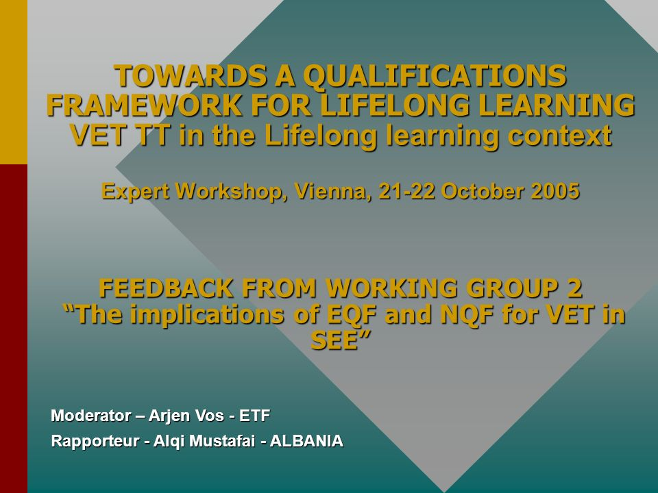 TOWARDS A QUALIFICATIONS FRAMEWORK FOR LIFELONG LEARNING VET TT in the Lifelong learning context Expert Workshop, Vienna, 21-22 October 2005 FEEDBACK FROM WORKING GROUP 2 The implications of EQF and NQF for VET in SEE