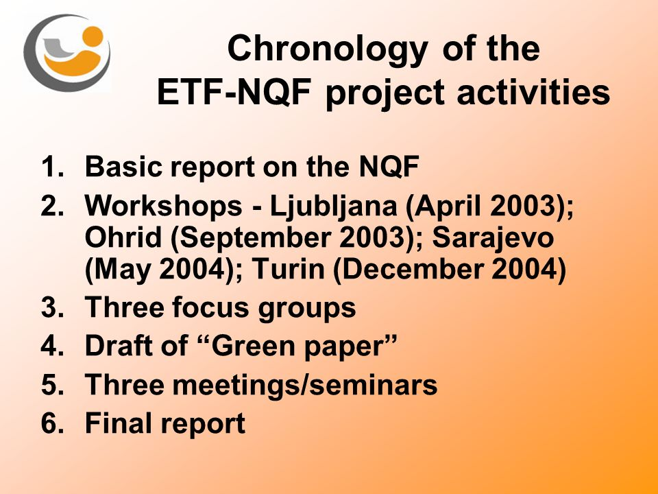 Chronology of the ETF-NQF project activities