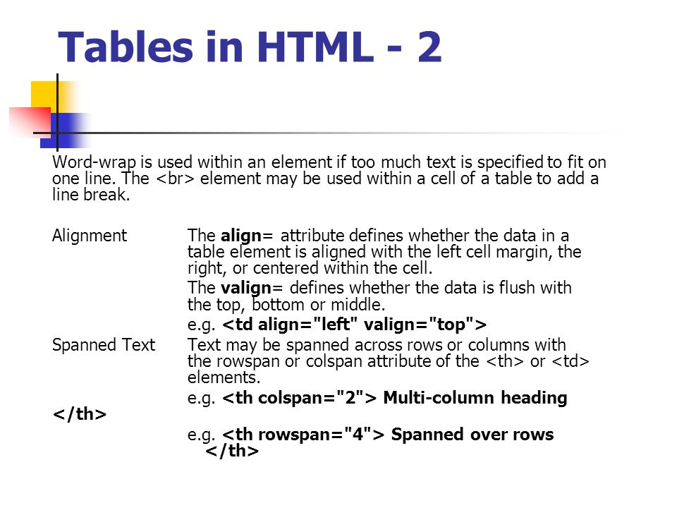 Itcs373 internet technology html ppt download for Table th rowspan