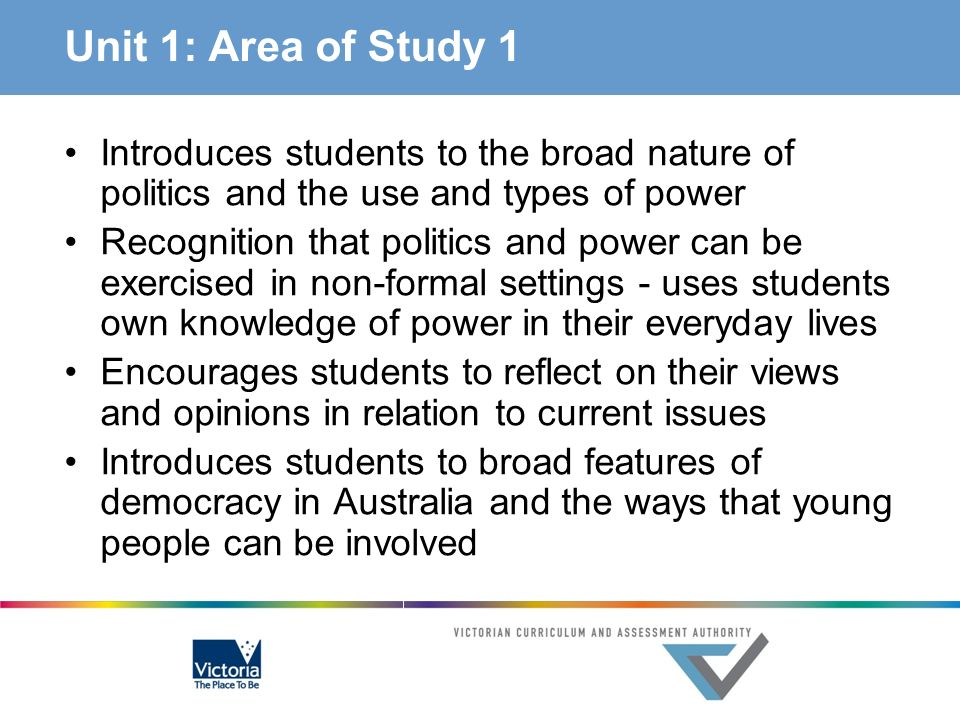 Unit 1: Area of Study 1 Introduces students to the broad nature of politics and the use and types of power.