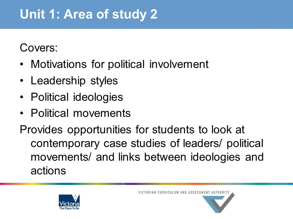 Unit 1: Area of study 2 Covers: Motivations for political involvement
