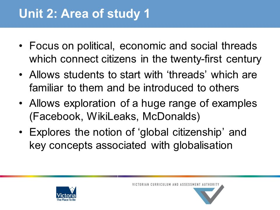 Unit 2: Area of study 1 Focus on political, economic and social threads which connect citizens in the twenty-first century.