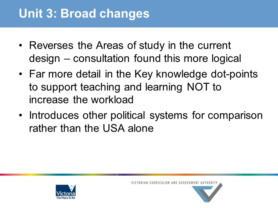 Unit 3: Broad changes Reverses the Areas of study in the current design – consultation found this more logical.