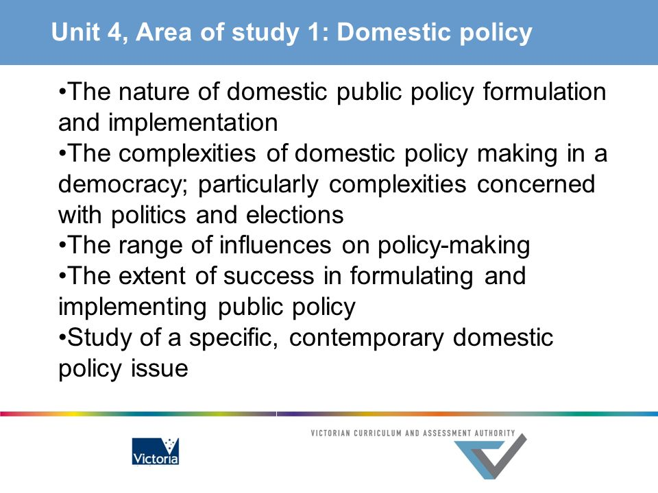 Unit 4, Area of study 1: Domestic policy