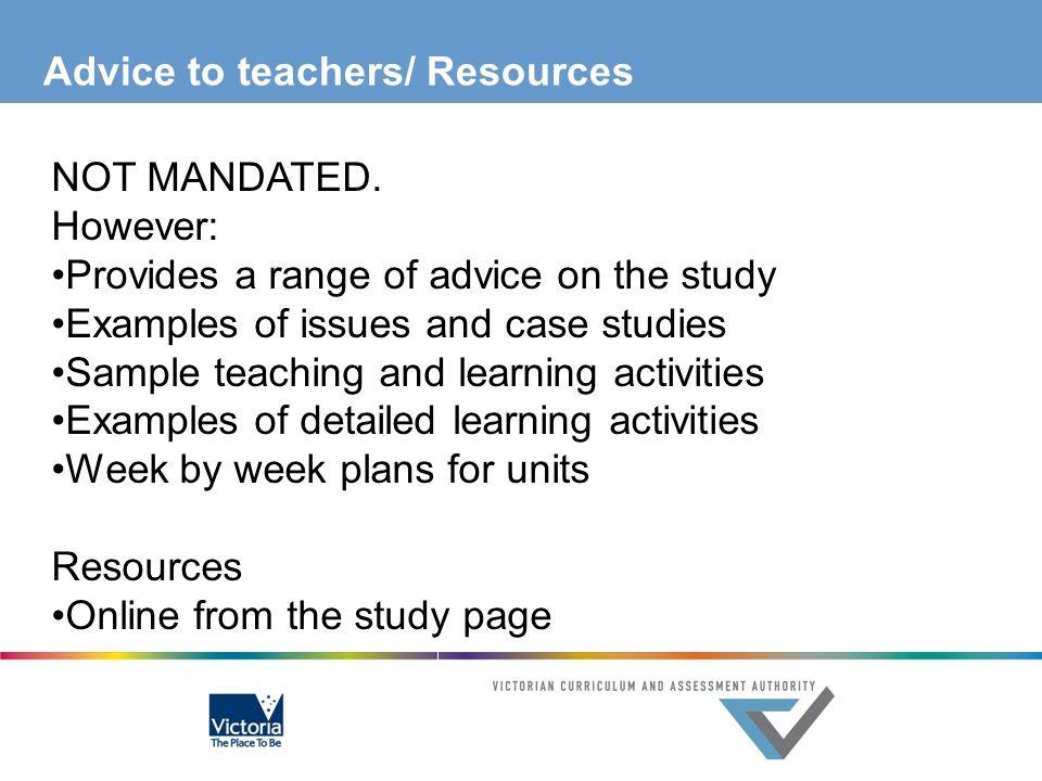 Advice to teachers/ Resources