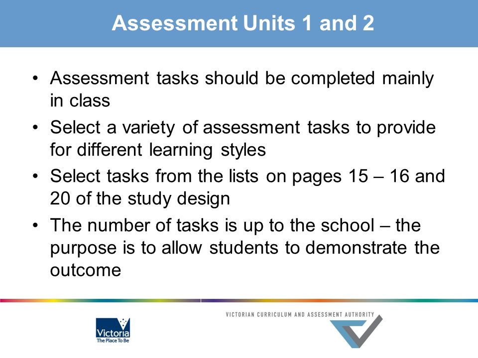 Assessment Units 1 and 2 Assessment tasks should be completed mainly in class.