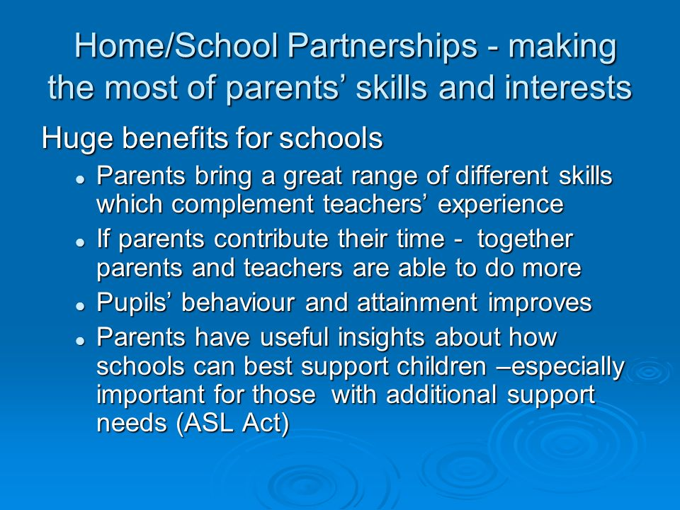 Home/School Partnerships - making the most of parents' skills and interests