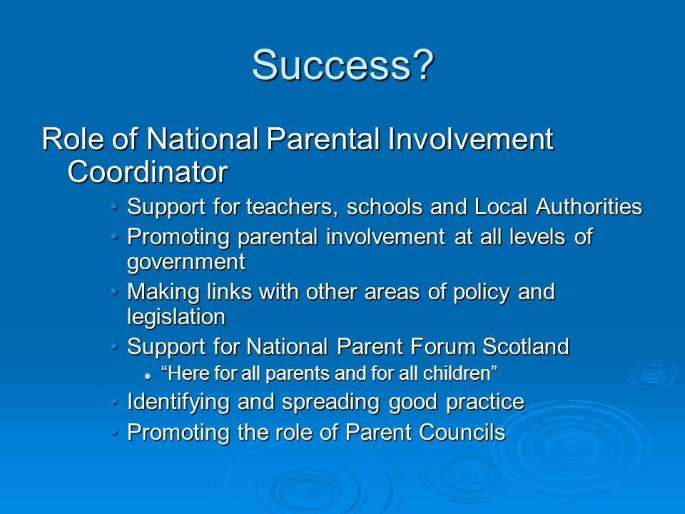 Success Role of National Parental Involvement Coordinator