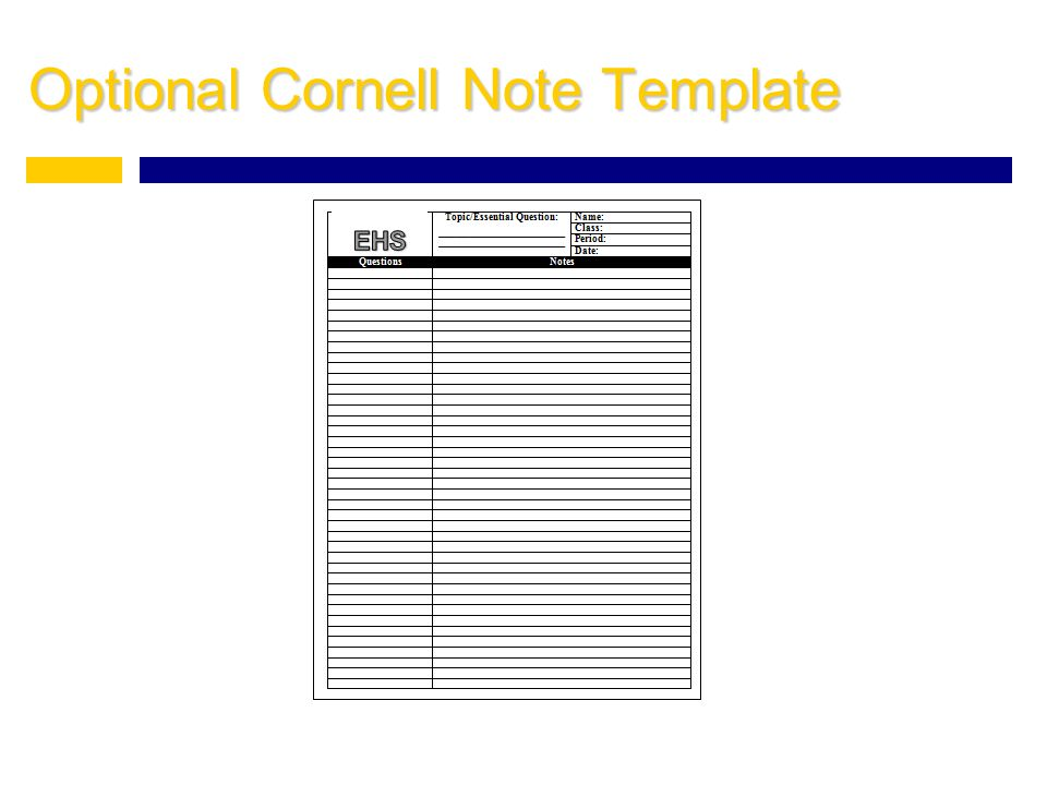 Optional Cornell Note Template
