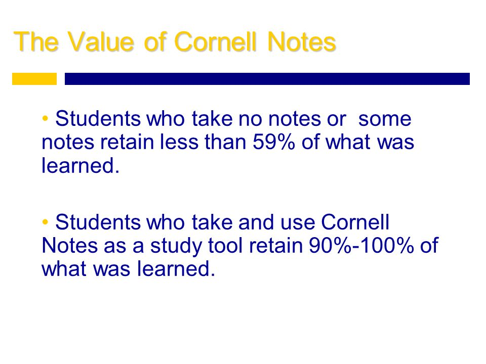 The Value of Cornell Notes