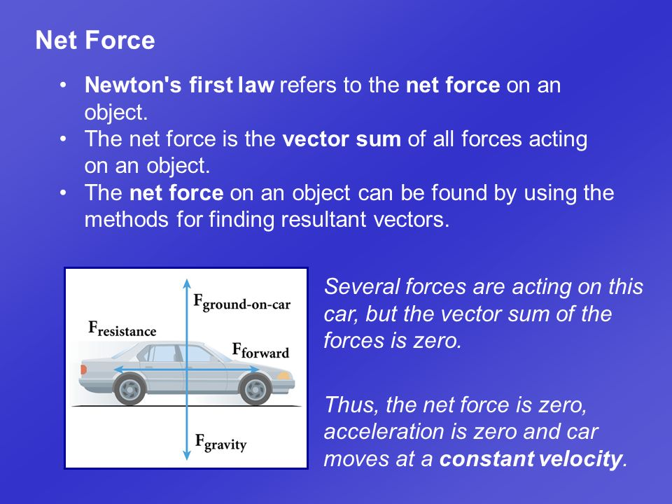 Net Force Newton s first law refers to the net force on an object.