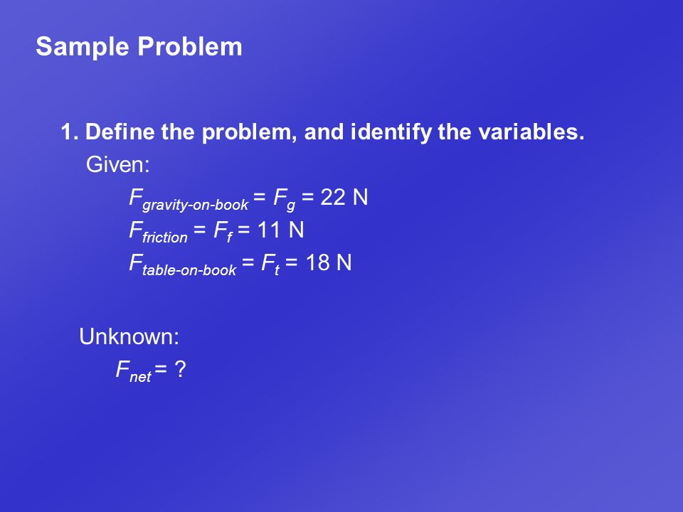 Sample Problem 1. Define the problem, and identify the variables.