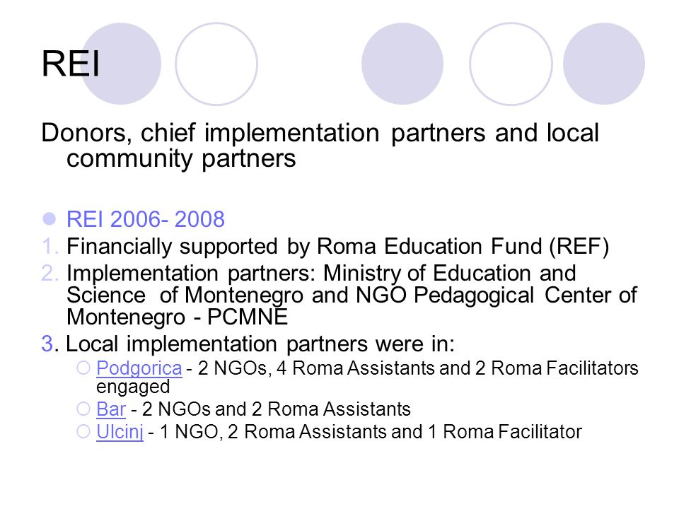REI Donors, chief implementation partners and local community partners