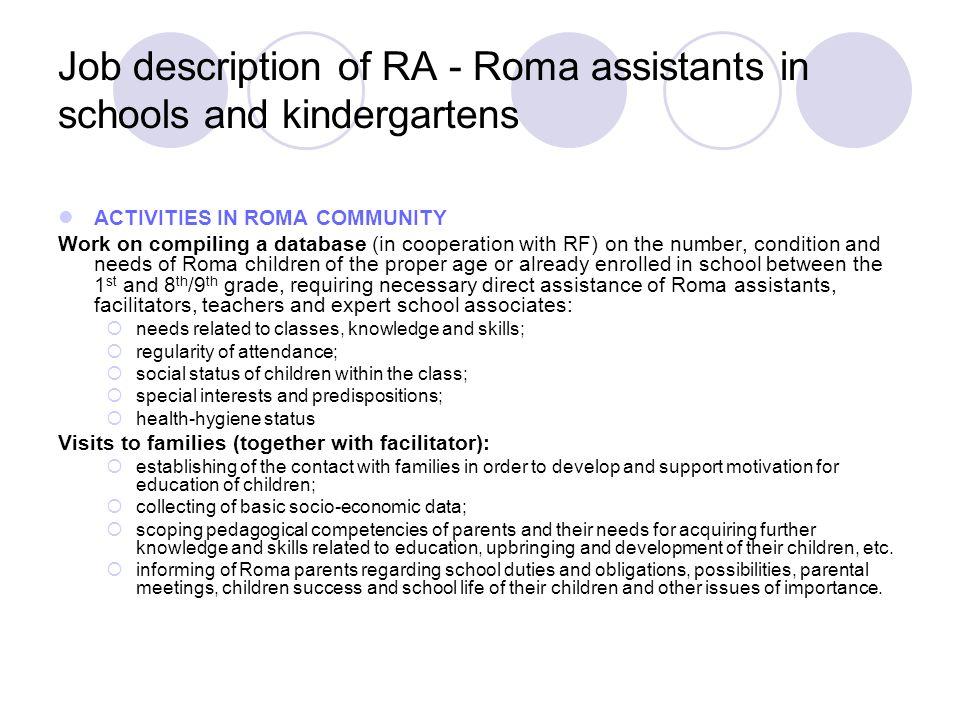 Job description of RA - Roma assistants in schools and kindergartens