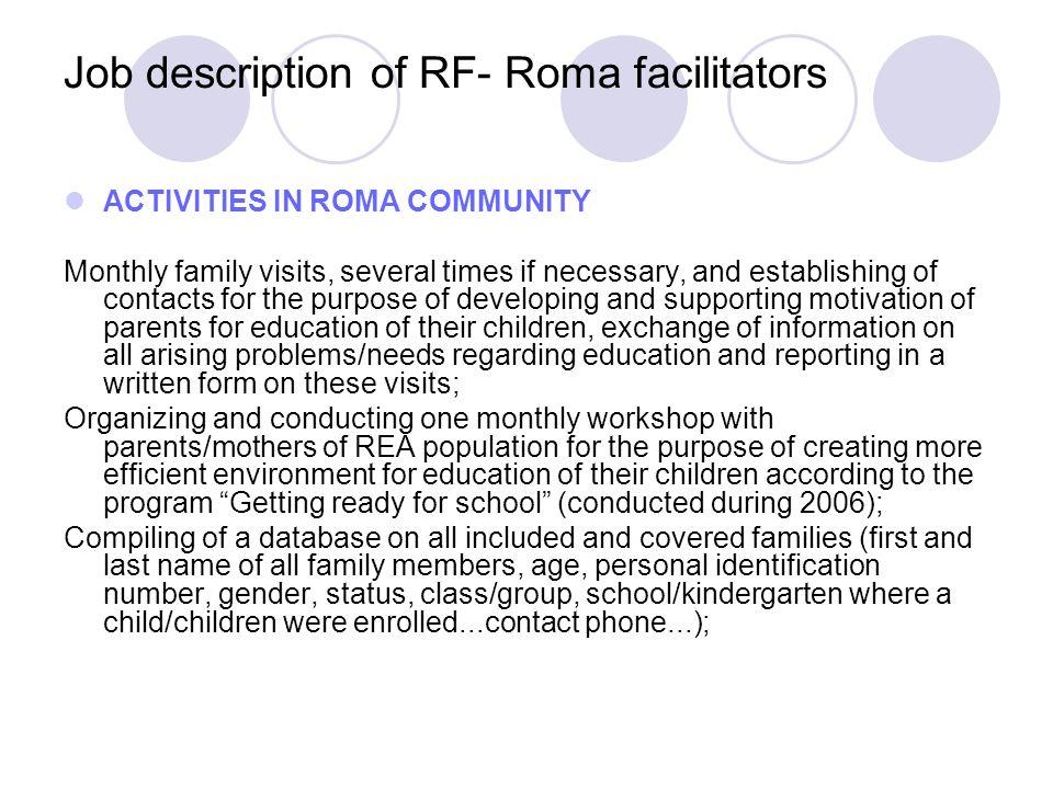 Job description of RF- Roma facilitators