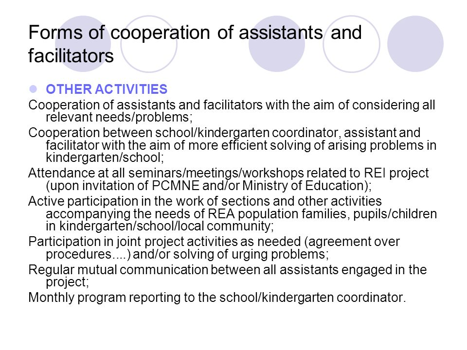 Forms of cooperation of assistants and facilitators